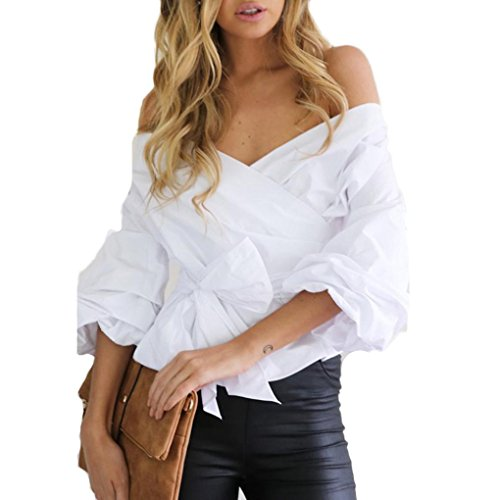 Kangma Women Bandage Sexy Off Shoulder Party Casual V-Neck Tops Shirt Blouse (Cotton Ruffle Wrap Top)