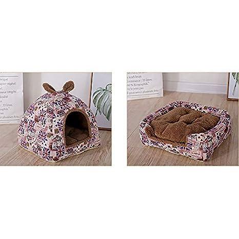 Doitsa Gato Confortable Nido Cachorro Ultra Suave y Confortable Transpirable portátil Cesta caverna para otoño Invierno, algodón, b, S:30 * 30 * 25CM: ...