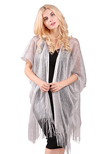 (MissShorthair Womens Metallic Long Cardigans Sheer Sparkly Open Lace Kimono with Tassel)