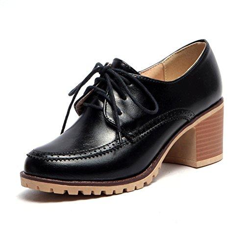 D mujer y verano de zapatos profundos británico con gruesos tacones de Zapatos Estilo zapatos primavera vínculos casuales de w6HYxTTX