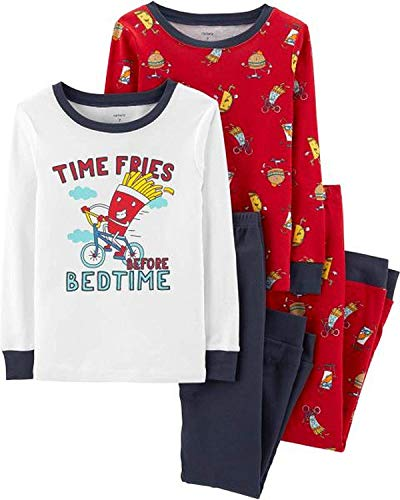 Carter's Boys Snug Fit Cotton PJs Pajamas (Blue/Red French Fries, 4)
