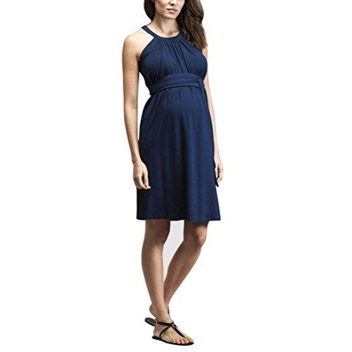 Zhuhaijq マタニティワンピース 夏 レディース コットン 夏 ワンピース 半袖 マタニティドレス Maternity Summer Dress Sleeveless Hanging Neck Skirt Fashion Party Dress