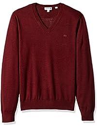 Men's Cotton Jersey V Neck Sweater with Pique Stitch Details, AH7894