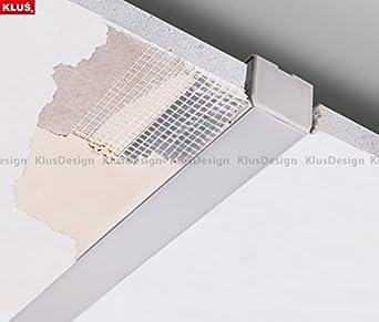 Perfil de aluminio no anodizado Kozel, de 2 m, con cubierta ópalo para tiras de LED para instalación en falso techo sin borde: Amazon.es: Iluminación