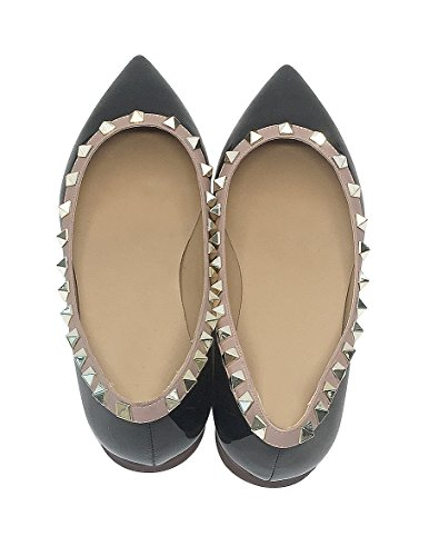 Size Black Large Womens Bands Buckle Rivets Pointed Rivets Flats fast Nude Toe Golden Leather Patent charm w0qxTSzR