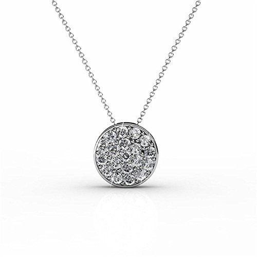 "Cate & Chloe Nelly ""Valor"" White Gold Plated Pave Stone Necklace w/Swarovski Crystals, Modern Trendy Beautiful Round Cut Diamond Cluster Necklace, Wedding Statement Necklaces (Silver) - MSRP $145 by Cate & Chloe"