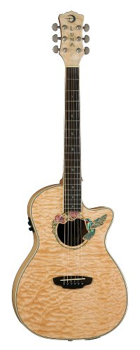 Luna Fauna Series Hummingbird Right-Handed Cutaway Acoustic-Electric Guitar - Natural