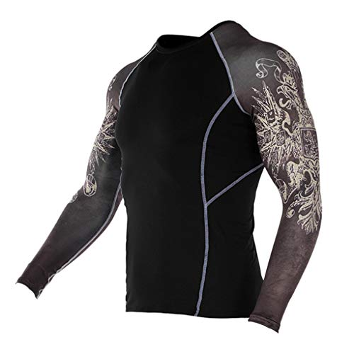 (JJLIKER Mens Print Performance Long Sleeve Compression Shirts Cool Dry Baselayer Fitness Elastic T-Shirt Quick-Drying)