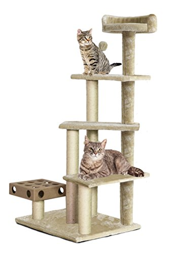 FurHaven Pet Cat Tree | Tiger Tough Cat Tree House Furniture for Cats & Kittens, Play Stairs, Cream