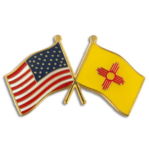 New Lapel Pin (PinMart's New Mexico and USA Crossed Friendship Flag Enamel Lapel Pin)