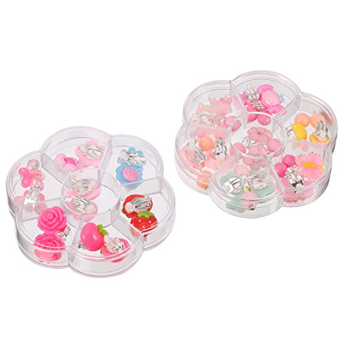 Mtlee 14 Pairs Clip-on Earrings Girls Play Earrings with Different Styles for Party Favor, All Packed in 2 Clear Boxes by Mtlee (Image #1)