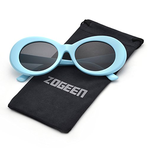 ZOGEEN Bold Retro Oval Mod Thick Frame Sunglasses Clout Goggles with Round 1212 (Sky - Clout Free Goggles