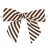 "Weststone 50pcs Satin Brown Striped Bows 3 1/2"" Span x 2"" Tail, Ribbon Width 1"", Pre-Tied Bows or Self-Adhesive Bows"