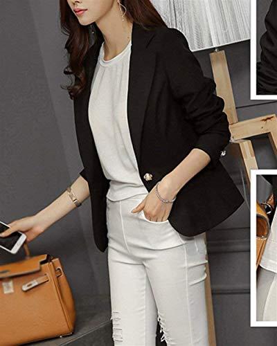 Coreana Button Outwear Ovest Monocromo Tailleur Modern Lunga Giacca Stile Moda Coat Giovane Autunno Da Collo Women Schwarz Manica Offlce Donna 7dnvqw6g7