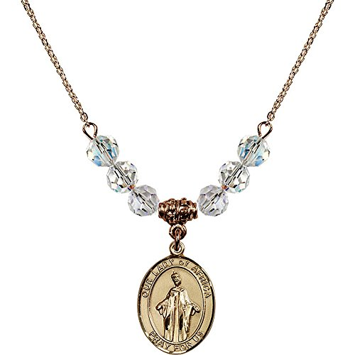 18-Inch Hamilton Gold Plated Necklace with 6mm White April Birth Month Stone Beads and Our Lady of Africa Charm by Bonyak Jewelry