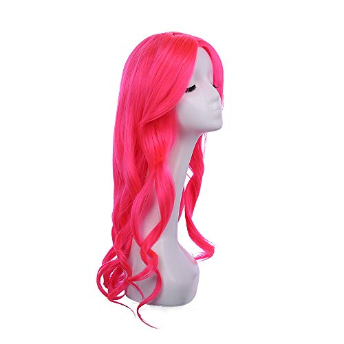 Pink Big Wave Curly Hair Wig Cosplay Daily Party Wig for Women Natural fluffy 21 inch Wig (Pink)