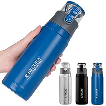 Secura Insulated Water Bottle - Stainless Steel Thermos Water Bottle for Hot and Cold Drink, 22 Ounce, Sweat Proof Leak-Proof Cap Integrated Handle, Blue