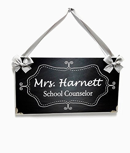 Customizable with Name Counselor Office Door Sign Inspired in Dark Grey Chalkboard with Faded Tone and White Flourish Frame