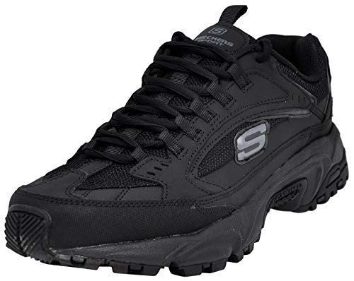 Skechers Sport Men's Stamina Nuovo Cutback Lace-Up Sneaker, Black/Black, 12 M US