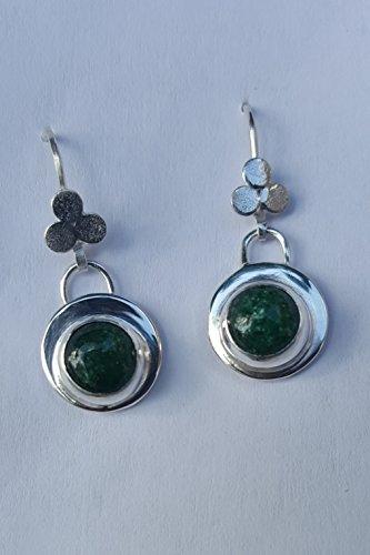 - Green Aventurine Drop Earrings Set in Sterling Silver