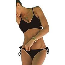 Fashionzone Women's Side Bottom Bikini Bathing Criss Cross Bandage Push Up Swimwear Swimsuit Brazilian