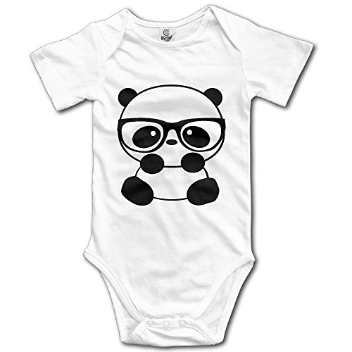 Nerd Costume With Overalls (Infants Boy's & Girl's Panda Nerd With Glasses Short Sleeve Bodysuit Outfits For 6-24 Months)
