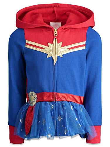 Marvel Captain Big Girls Zip Up Fleece Costume Hoodie with Ruffle 10/12 Blue/Red (Captain Cold Christmas)