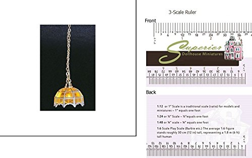 Dollhouse Miniature &hw2008: Tiffany Hanging Lamp, Amber - Amber Wallet