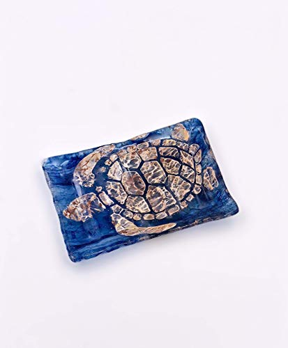 Blue Fused Glass - Sea Turtles Handcrafted Blue Fused Glass Soap or Sponge Dish Bath Accessory