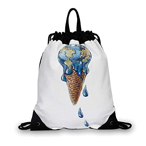 Ice Cream Decor Nice Drawstring Bag,Ice Cream with Globe Planet Earth Flavor Ecological Graphic Decorative For hiking,7.4