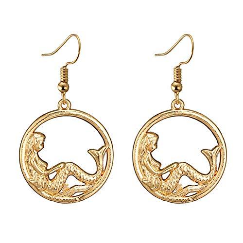 BulingVV 18K Gold Plated Vintage The Mermaid Sea Goddness Round Charm Women Girls Dangle Earrings ()