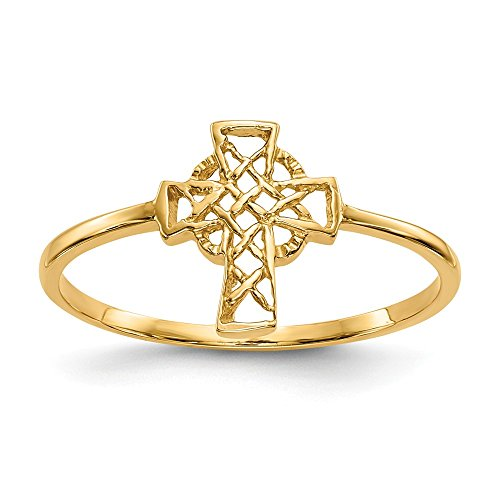 14k Yellow Gold Irish Claddagh Celtic Knot Cross Religious Band Ring Size 7.00 Fine Jewelry Gifts For Women For Her