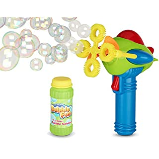 Bubble Gun Blower for Kids (Boys & Girls) - Non-Toxic | Dip&Press with Fan | Mini Toy Blaster with Soap Solution | 4 Wands Ring Shooter | Fun, Indoor & Outdoor, Leak-Resistant, Parents & Toddlers