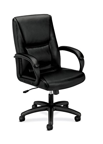 HON Executive Leather Chair - Mid-Back Office Chair for Computer Desk, Black (HVL161) (Bankers Cushion Chair)