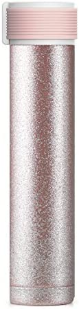 Asobu Skinny Glitter Fashon Forward Double Walled Stainless Steel Insulated Water Bottle Bpa Free 8 oz (Nude)