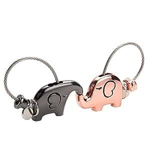 Joykey Llavero 1 Par Kissing Elefantes Llavero para Pareja Amantes Valentines Sweet Regalo Zinc Aleación Brillante Llaveros