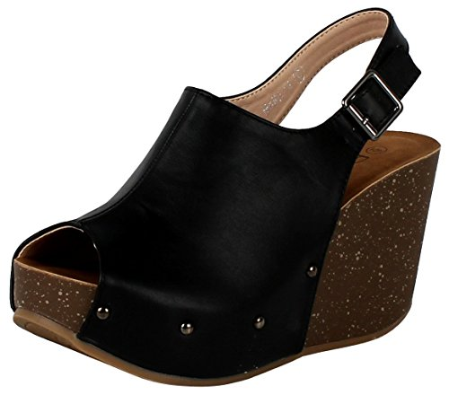 Refresh Footwear Women's Slingback Peep Toe Wedge Platform Sandal (7 B(M) US, Black)