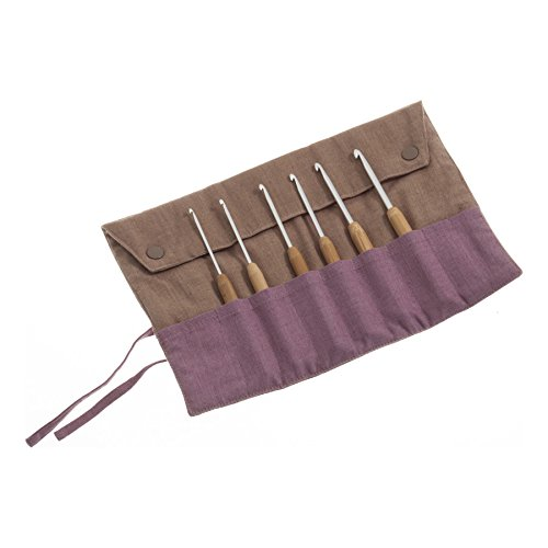 Pony P62439 14cm Bamboo/Aluminium Crochet Hook Set | Fabric Case 6 Sizes 2.5-5mm by Pony