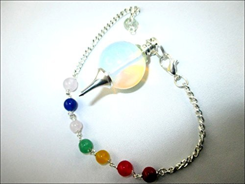 Jet Opalite Sphere Ball Pendulum Chakra Chain Opal Carved Handcrafted Antique India Reiki Dowsing Healing Chakra Balancing (Opal Jet)
