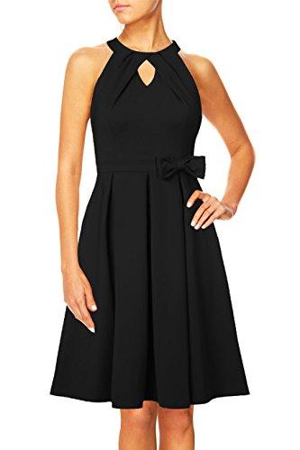 Pinup Fashion Women's Vintage Halter Skater Pleated A-Line Cocktail Party Dress Keyhole Neck (Black, 4)