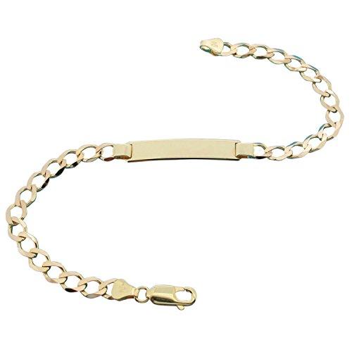 """LetsBuyGold Bague ID de bordure or jaune Bracelet 19 cm (7,5 """") dans une boîte cadeau"""