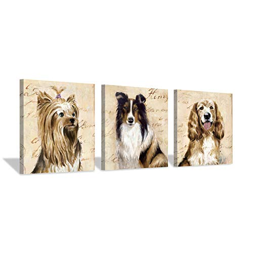 Hardy Gallery Dogs Picture Wall Decor Print: Puppy Graphic Artwork Painting on Canvas Set (12
