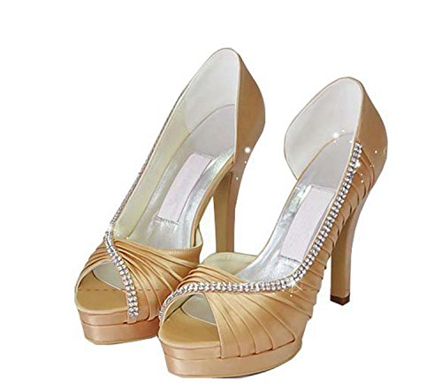 Minitoo mariage 12cm tendance Heel Champagne marron de femme Chaussures TAzraT