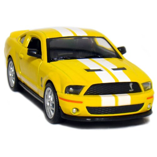 "Kinsmart 5"" 2007 Ford Shelby GT500 with Stripes 1:38 Scale (Yellow)"
