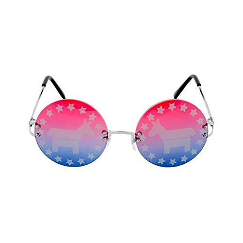 [Party Stained Halloween Political Democrat Glasses] (Political Couple Costumes)