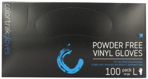 (Colortrak Disposable Powder Free Vinyl Gloves, Clear, L (2 boxes x 100 count each))