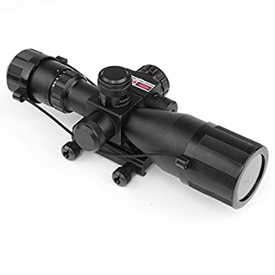 Rifle Scope Red Dot Tactical 2.5-10x40 Red Laser Dual Illuminated Mil-dot w/ Rail Mount