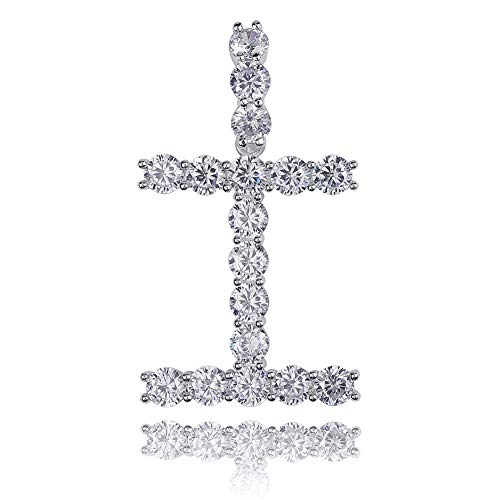 GUCY Hip Hop Jewelry Tennis Letters Pendant Chain Iced Out CZ Lab Diamond Letter Chains Custom Necklace Name for Men Women(Silver I, 24) ()