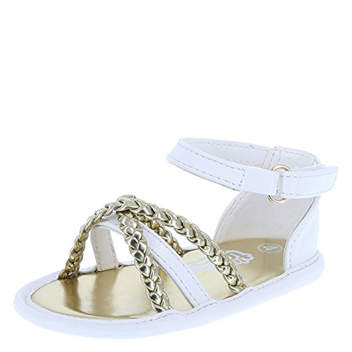 Teeny Toes Girl's White Gold Girls' Infant Lily Braided Sandal Infant Size 2 Regular