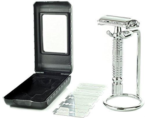 Price comparison product image Elkaline Double Edge Butterfly Open Safety Razor Shaving Kit + 5 Razor Blades + Razor Stand + Travel Case Set - Great Gift for Men and Women